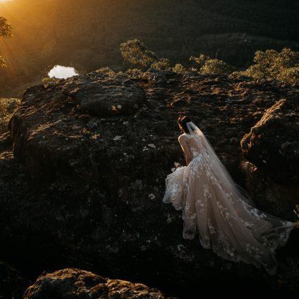 bride viewing sunset at Kangaroo Valley Bush Retreat